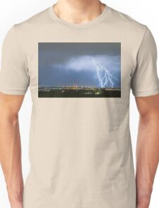 Northeast Colorado Lightning Strike and City Lights Unisex T-Shirt