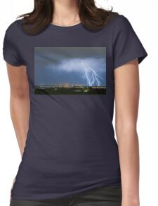 Northeast Colorado Lightning Strike and City Lights Womens Fitted T-Shirt
