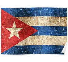 Vintage Aged and Scratched Cuban Flag Poster