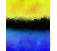 Separation - Abstract in black, blue and yellow Photographic Print