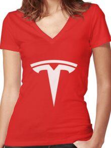 Tesla Logo Women's Fitted V-Neck T-Shirt