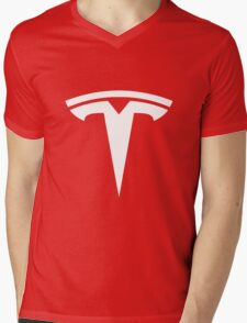 Tesla Logo Mens V-Neck T-Shirt