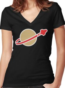 Lego Classic Space Women's Fitted V-Neck T-Shirt