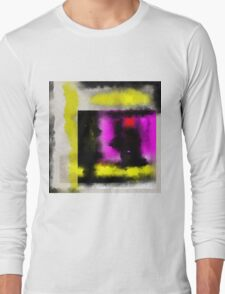 Confined - Abstract, geometric painting in yellow, black, white, red and purple Long Sleeve T-Shirt
