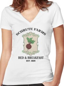 Schrute Farms Bed And Breakfast - Dwight Schrute - The Office Women's Fitted V-Neck T-Shirt
