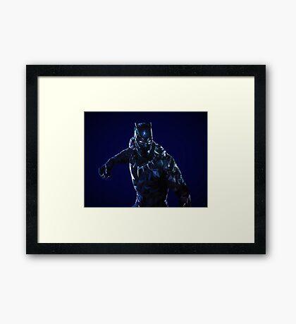 Black Panther Low Poly Framed Print