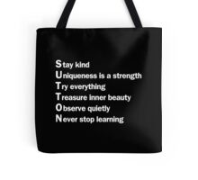 Sutton Foster - Life Lessons Acrostic  | Black Tote Bag
