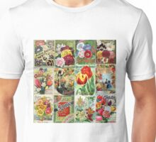 Vintage Flower Seed Packet Illustrations for Joan Unisex T-Shirt