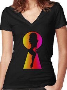 Peeping Tom Women's Fitted V-Neck T-Shirt