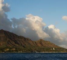 Cheerful Orange Catamaran and Diamond Head, Waikiki, Hawaii Sticker