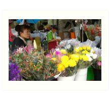 Flower market vendor Art Print
