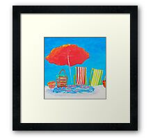 Beach painting - The Red Umbrella Framed Print
