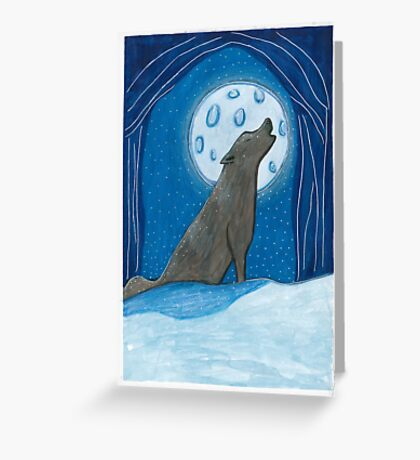 Wolf howling @ moon Greeting Card