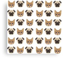 Pugs and Kittens White Canvas Print