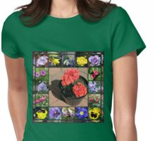 Sunshine and Showers Floral Collage Womens Fitted T-Shirt