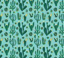 Cactus Fields - Blue by Emma Hampton