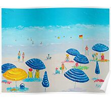 Beach Art - Blue Striped Umbrellas Poster