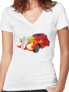 """""""Born In The U.S.A."""" Women's Fitted V-Neck T-Shirt"""