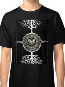 Silver and Gold Butterfly Tree Mandala Classic T-Shirt