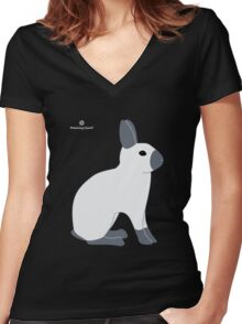 Blue Sable Point Rabbit Women's Fitted V-Neck T-Shirt