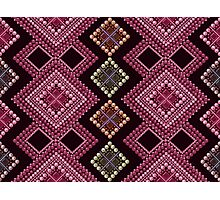 Seamless pattern modern texture abstract background with beads textile, print in boho folk etno style Photographic Print