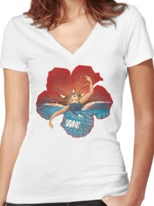 Flower Hawaii Pele Women's Fitted V-Neck T-Shirt
