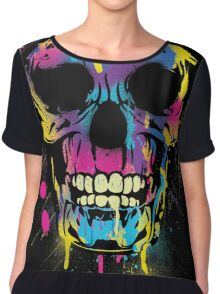 Cool Skull with Colorful Paint Drips and Splatters  Women's Chiffon Top