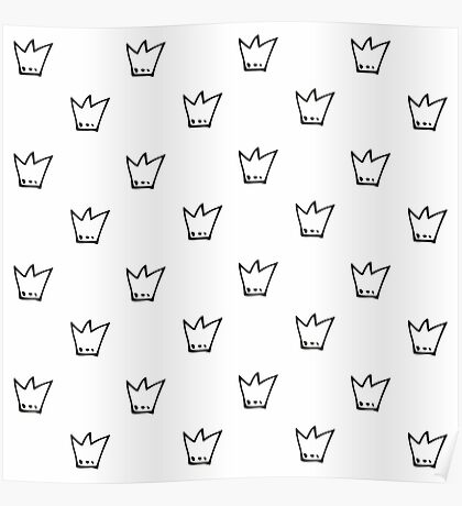 Monochrome pattern with crowns Poster