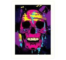 Cool Colorful Skull with Paint Splatters and Drips Art Print