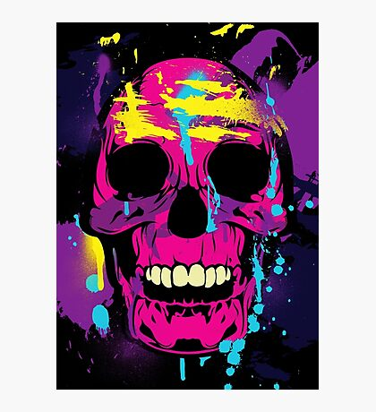 Cool Colorful Skull with Paint Splatters and Drips Photographic Print