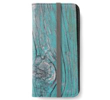 Wood Knot in Turquoise - Vertical iPhone Wallet/Case/Skin