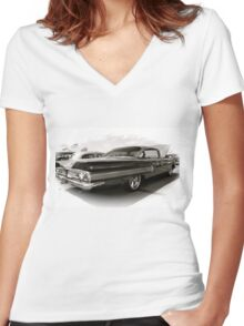 1960 Chevy Impala Women's Fitted V-Neck T-Shirt