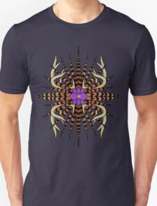 Antlers with Pheasant Feathers (Grey Background) Unisex T-Shirt