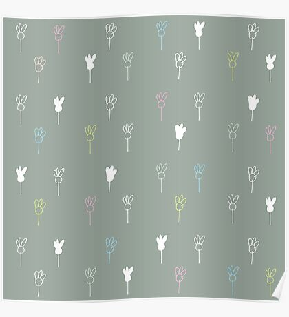 Chamomile on gray Poster