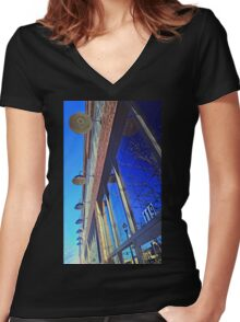 A Row of Lights Women's Fitted V-Neck T-Shirt