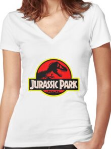 Vintage Style Jurassic Women's Fitted V-Neck T-Shirt