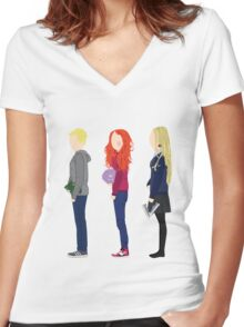 Neville Longbottom, Ginny Weasley and Luna Lovegood Women's Fitted V-Neck T-Shirt