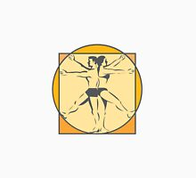 Da Vinci Male Female Side Arms Legs Line Drawing Retro Unisex T-Shirt