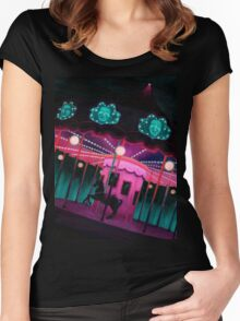 Pink and Purple Carnival, Oil Painting of Carousel, horse and faces Women's Fitted Scoop T-Shirt