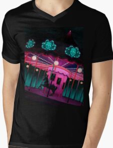 Pink and Purple Carnival, Oil Painting of Carousel, horse and faces Mens V-Neck T-Shirt