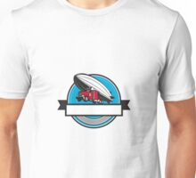 Half Zeppelin Blimp Half Semi-Truck Flying Overhead Retro Unisex T-Shirt