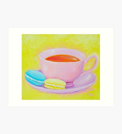 Cup of Tea with Macaroons Art Print