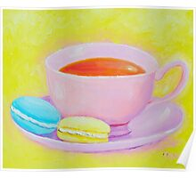 Cup of Tea with Macaroons Poster