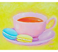 Cup of Tea with Macaroons Photographic Print