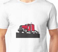Semi Truck Tractor Low Angle Retro Unisex T-Shirt