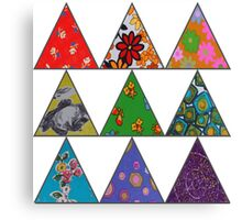 Vintage Fabric Patchwork in Bright Colours Canvas Print