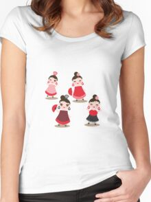 Flamenco dancers on black Women's Fitted Scoop T-Shirt