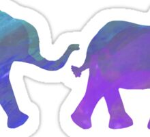 Follow The Leader - Painted Elephants in Purple, Royal Blue, & Mint Sticker