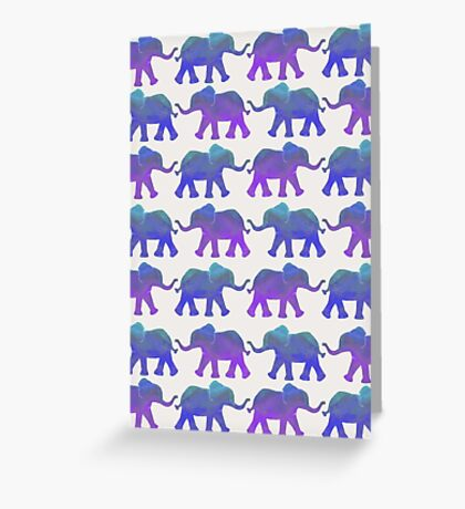 Follow The Leader - Painted Elephants in Purple, Royal Blue, & Mint Greeting Card