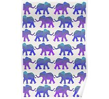 Follow The Leader - Painted Elephants in Purple, Royal Blue, & Mint Poster